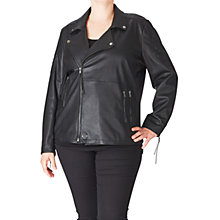 Buy ADIA Leather Look Biker Jacket, Black Online at johnlewis.com