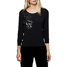 Buy East Embroidered Flower Jumper, Black Online at johnlewis.com