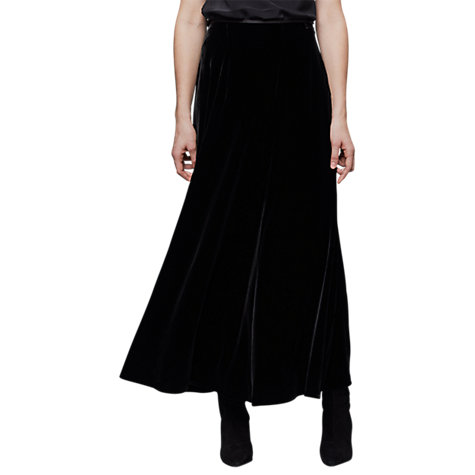 Buy East Silk Blend Velvet Skirt, Black Online at johnlewis.com