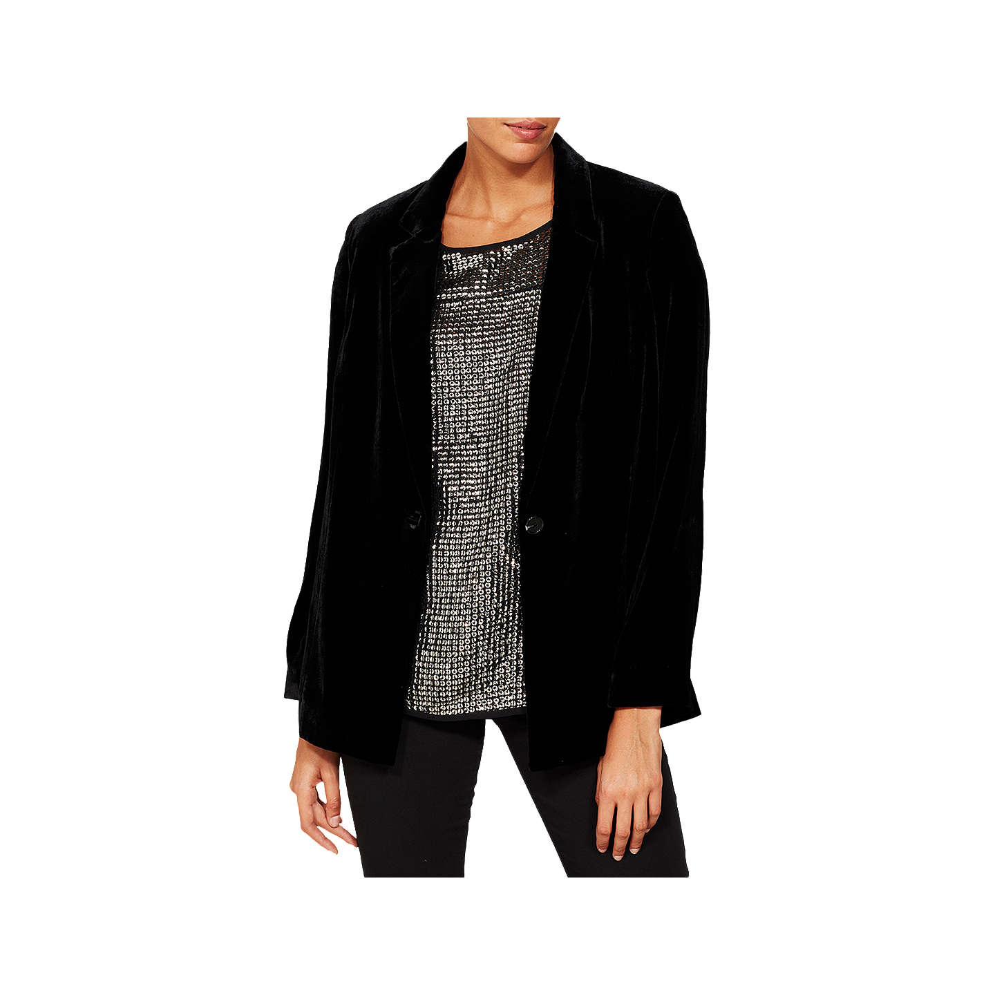 BuyMint Velvet Velvet Blazer, Black, 6 Online at johnlewis.com
