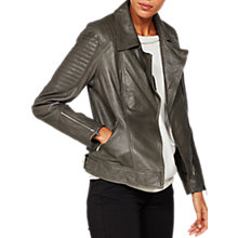 Buy Mint Velvet Leather Biker Jacket, Khaki Online at johnlewis.com