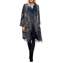 Buy East Wool Paisley Fringe Blanket Coat, Granite Online at johnlewis.com