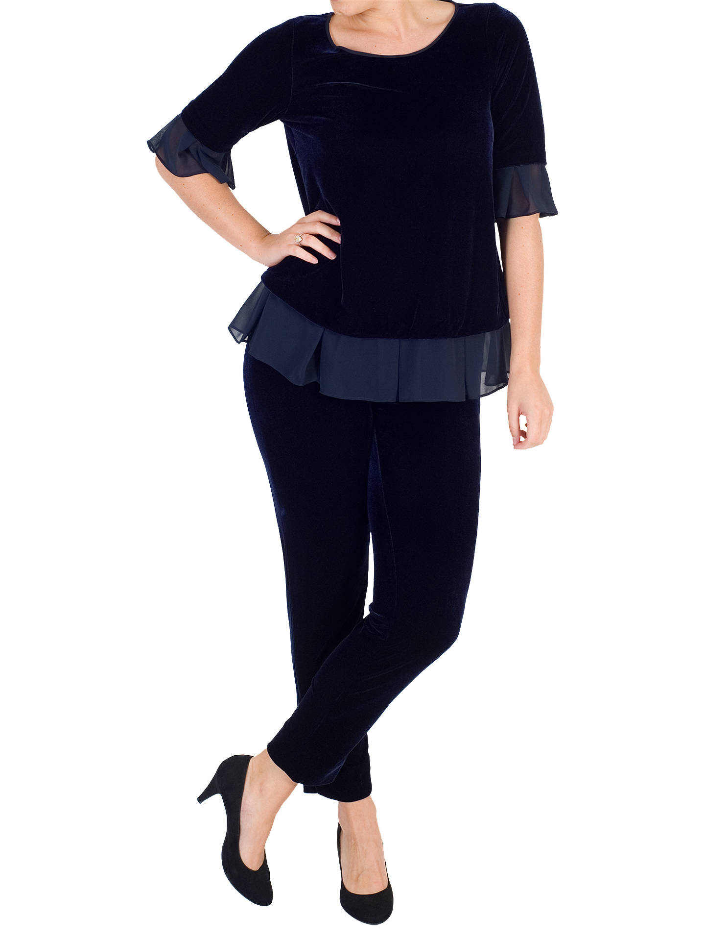 BuyChesca Stretch Velvet Trousers, Midnight, 12-14 Online at johnlewis.com
