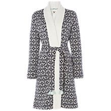 Buy White Stuff Geostar Fluffy Jacquard Robe, Navy Online at johnlewis.com