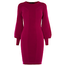 Buy Karen Millen Drama Sleeve Knitted Dress, Pink Online at johnlewis.com