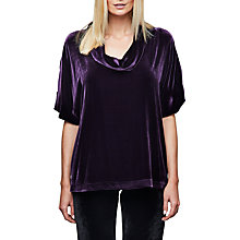 Buy East Silk Velvet Bardot Top, Plum Online at johnlewis.com
