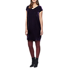 Buy East Velvet Shift Dress, Plum Online at johnlewis.com