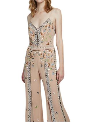 French Connection Bijou Stitch Strappy Jumpsuit, Chantilly Pink/Multi