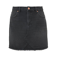 Buy Mint Velvet Raw Hem Denim Mini Skirt, Black Online at johnlewis.com