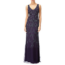 Buy Adrianna Papell Beaded V Neck Long Dress, Amethyst Online at johnlewis.com