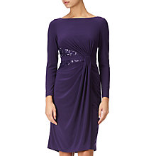 Buy Adrianna Papell Long Sleeve Jersey Dress, Aubergine Online at johnlewis.com