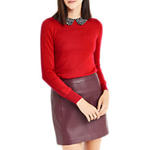 Buy Oasis Animal Printed Collar Jumper, Rich Red Online at johnlewis.com