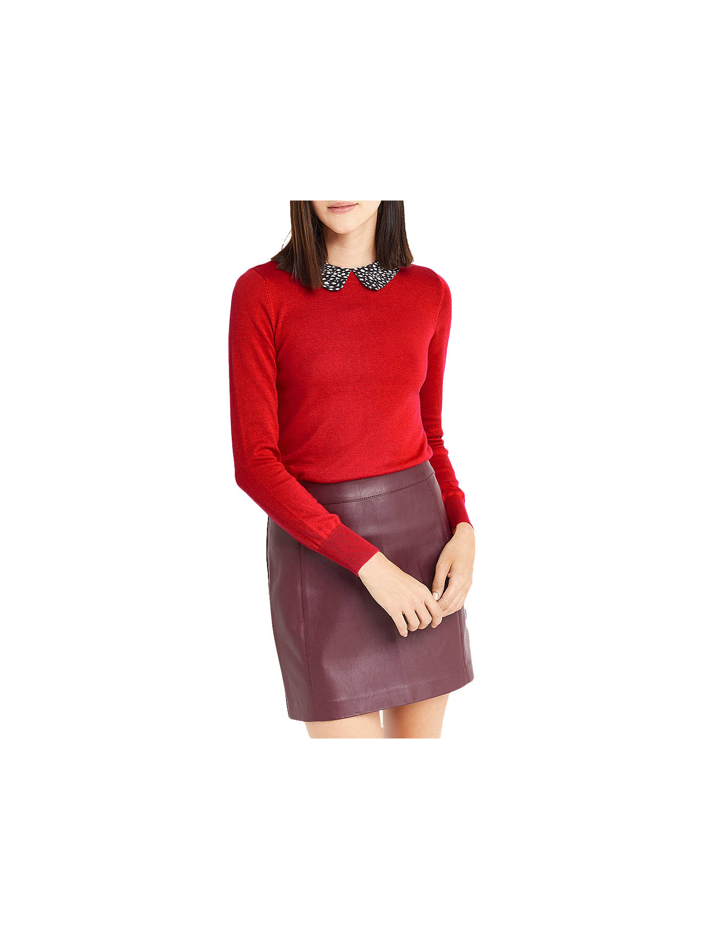 BuyOasis Animal Printed Collar Jumper, Rich Red, XS Online at johnlewis.com