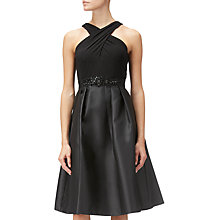 Buy Adrianna Papell Mikado Cross Over Neck Sleeveless Flared Party Dress, Black Online at johnlewis.com
