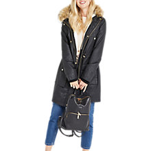 Buy Oasis Borah Waxed Parka, Black Online at johnlewis.com