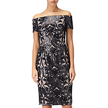 Buy Adrianna Papell Bardot Sheath Pattern Dress, Black/Rose Gold Online at johnlewis.com