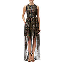 Buy Adrianna Papell Halter Neck Sheer High Low Metallic Long Dress, Black/Gold Online at johnlewis.com