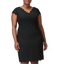 Buy Adrianna Papell Plus Size V Neck Scallop Detail Sheath Dress, Black Online at johnlewis.com