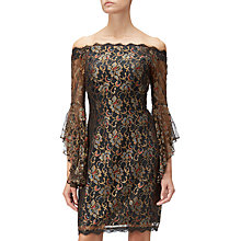 Buy Adrianna Papell Metallic Lace Short Dress, Black/Gold Online at johnlewis.com