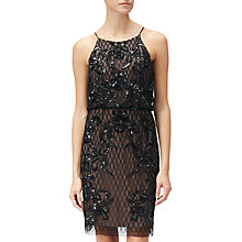Buy Adrianna Papell Petite Short Beaded Dress, Black Nude Online at johnlewis.com