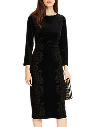 Phase Eight Petra Floral Velvet Burnout Dress, Black