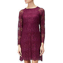 Buy Adrianna Papell Scalloped Lace Trapeze Dress, Burgundy Online at johnlewis.com