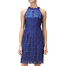Buy Adrianna Papell Halter Guipure Lace Dress, Deep Blue Online at johnlewis.com