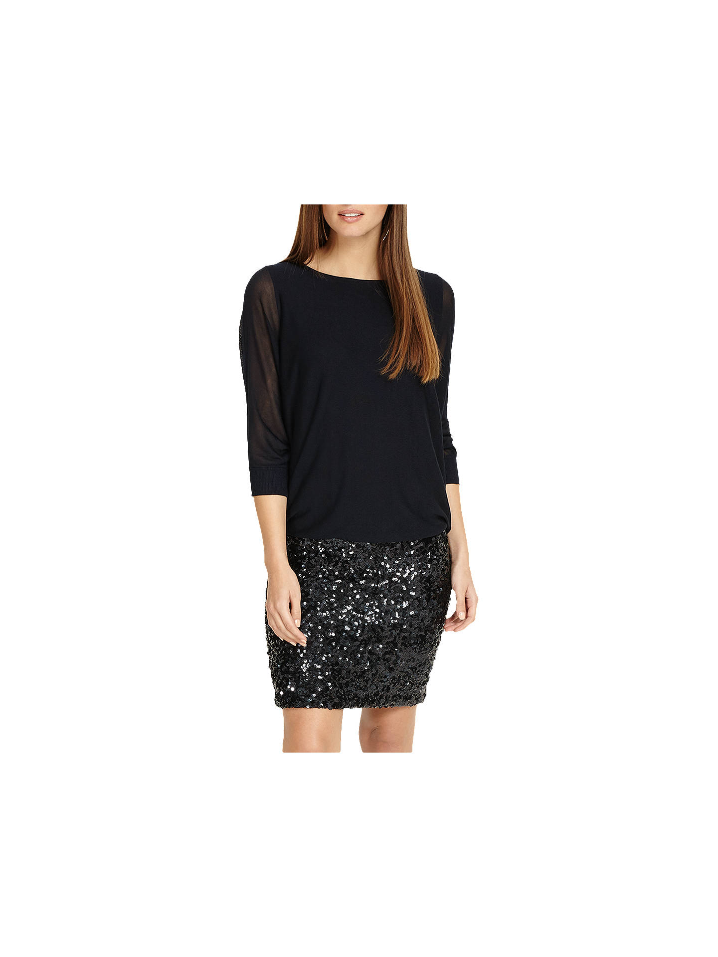d19fa4b6 Buy Phase Eight Geonna Sequin Skirt Dress, Midnight, 8 Online at  johnlewis.com ...