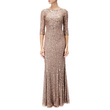 Buy Adrianna Papell Beaded Long Dress, Rose Gold Online at johnlewis.com