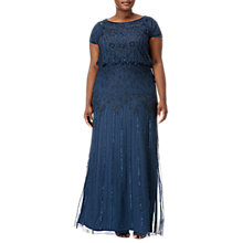 Buy Adrianna Papell Plus Size Embellished Long Dress, Deep Blue Online at johnlewis.com