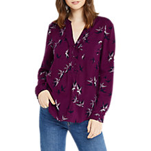 Buy Oasis Shadow Bird Shirt, Dark Purple Online at johnlewis.com