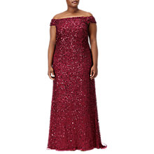 Buy Adrianna Papell Plus Size Off Shoulder Crunchy Bead Gown, Cranberry Online at johnlewis.com