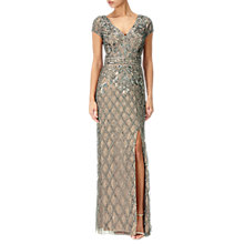 Buy Adrianna Papell Beaded Deep V-Neck Gown, Lead/Nude Online at johnlewis.com