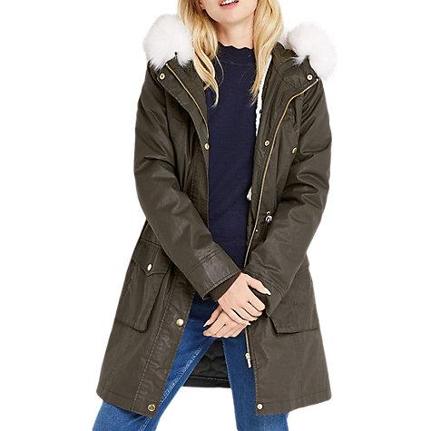Buy Oasis Borah Wax Parka Coat, Khaki | John Lewis