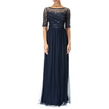 Buy Adrianna Papell Petite Sequin Beaded Bodice Tulle Gown, Midnight Online at johnlewis.com