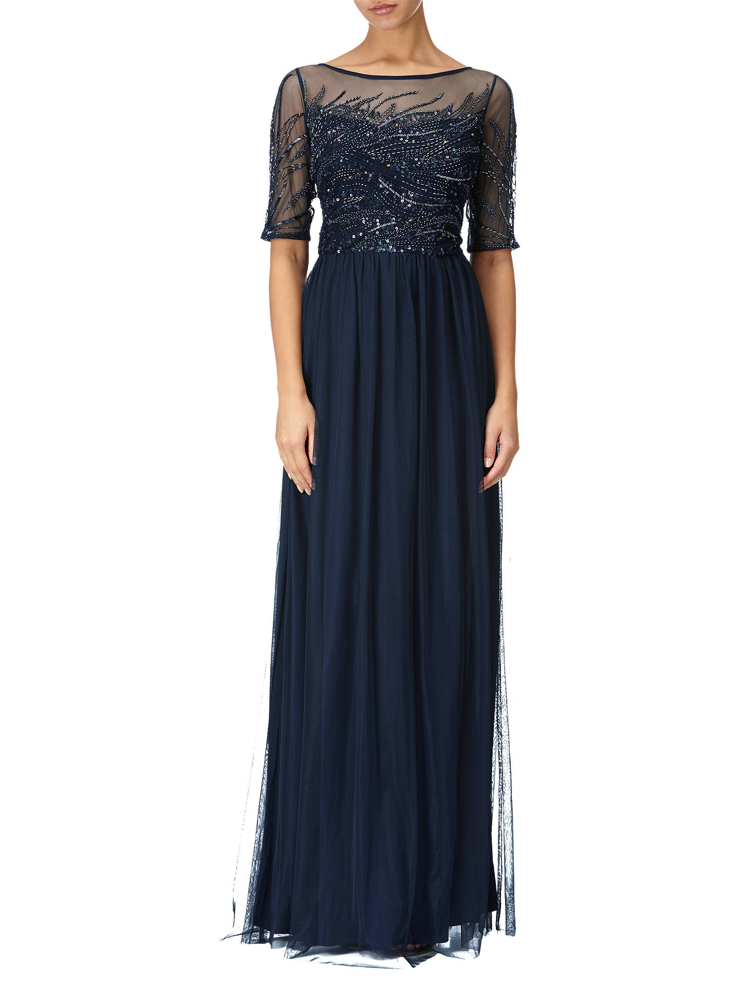Adrianna Papell Petite Sequin Beaded Bodice Tulle Gown, Midnight at ...