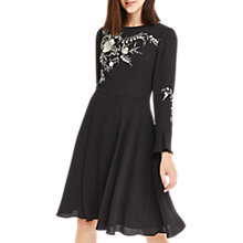 Buy Oasis Kimono Embroidered Knee Length Dress, Black Online at johnlewis.com