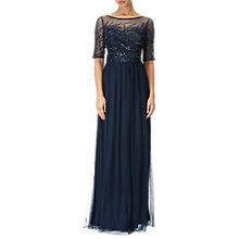Buy Adrianna Papell Beaded Elbow Sleeve Dress, Midnight Online at johnlewis.com