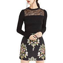 Buy Oasis Lace Insert Long Sleeve Top, Black Online at johnlewis.com