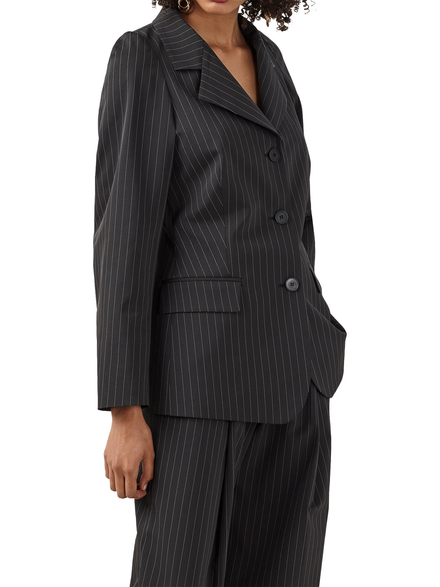 BuyFinery Cardington Pinstripe Jacket, Black/White, 8 Online at johnlewis.com