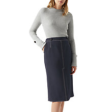 Buy Jigsaw Compact Twill Pencil Skirt, Navy Online at johnlewis.com