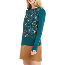 Buy Oasis Rosetti Woven Mix Jumper, Turquoise Online at johnlewis.com