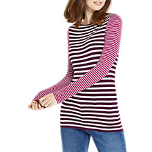 Buy Oasis Striped Envelope Neck Top, Multi/Purple Online at johnlewis.com