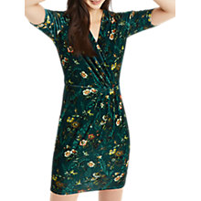 Buy Oasis Rosetti Velvet Wrap Dress, Deep Green Online at johnlewis.com