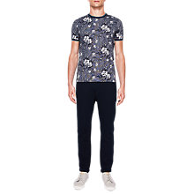 Buy Ted Baker Nine Quilted Cotton Jersey Trousers, Navy Online at johnlewis.com