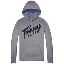 Buy Tommy Jeans Logo Long Sleeve Hoodie, Light Heather Grey Online at johnlewis.com