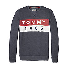 Buy Tommy Jeans Logo Long Sleeve Sweatshirt, Black Iris Online at johnlewis.com