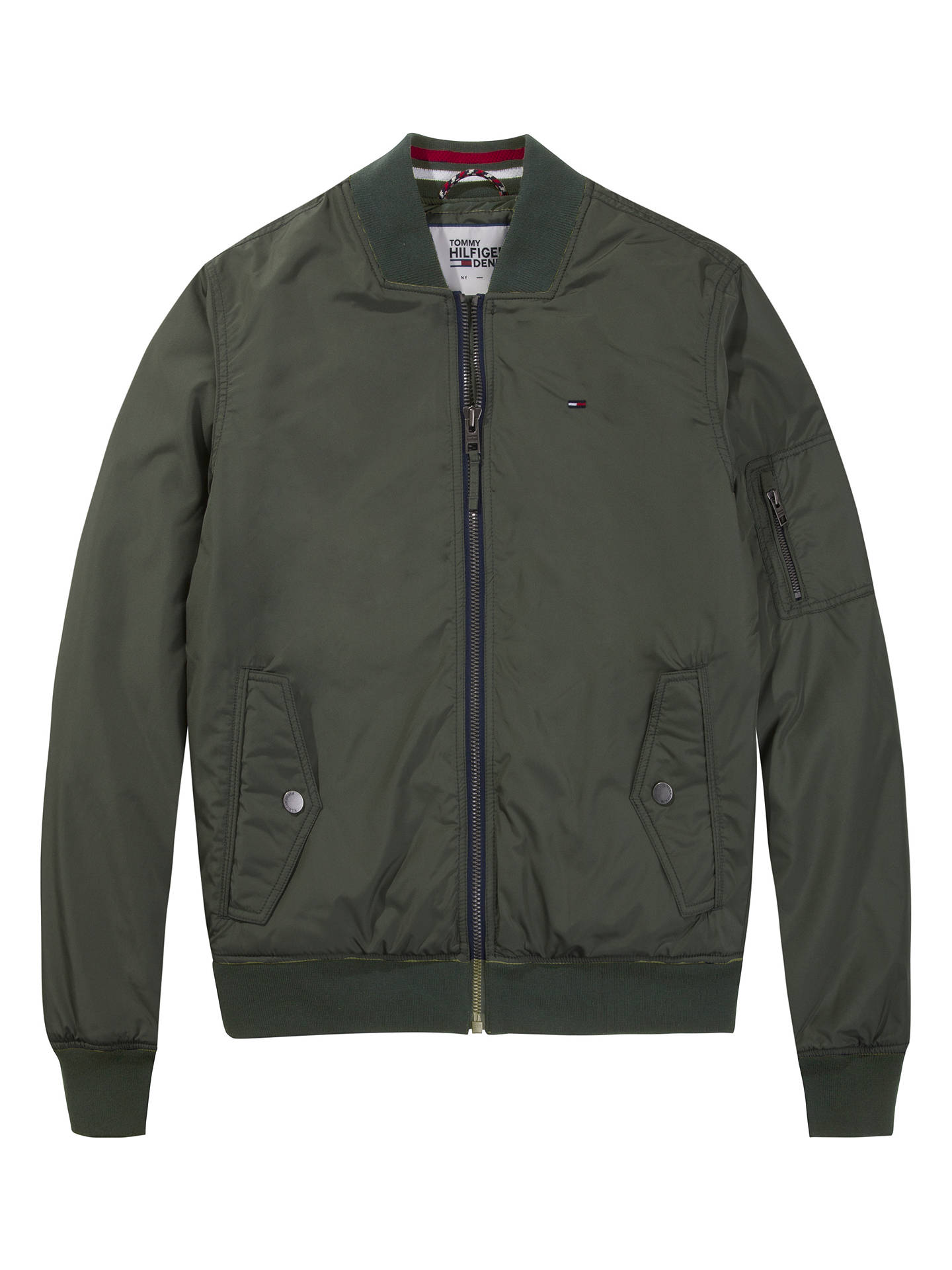755d92f51 Tommy Jeans Straight Padded Bomber Jacket, Thyme at John Lewis ...