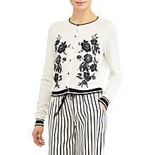 Buy Lauren Ralph Lauren Lilia Embroidered Cardigan, Mascarpone Cream/Black Online at johnlewis.com