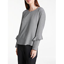Buy Gerry Weber Long Sleeve Gingham Top, Black/White Online at johnlewis.com